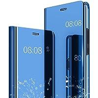 Caler Huawei Y6 2018/ Huawei Y6 Prime 2018 Hülle Spiegel Cover Case Flip Schutzhülle Clear View Tasche Handyhülle mit Handy Ultra PC Luxus Mirror Standfunktion Dünn edertasche (Blau)