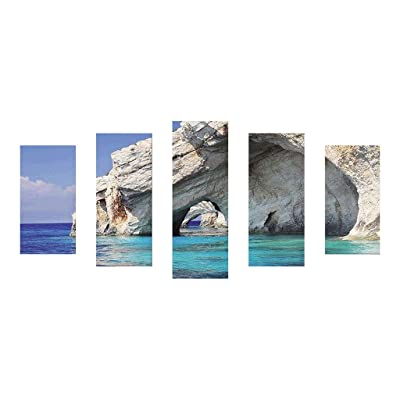 DIY 5D Diamond Painting Kit, 5 Panels Painting Cross Stitch Full Drill Crystal Rhinestone Embroidery Pictures Arts Craft Canvas for Home Wall Decoration Gift, Magnificent Scenery