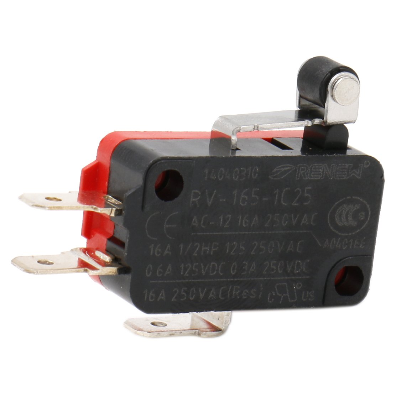 heschen Micro interruptor V-165 –  1 C25 SPDT short rodillo Palanca 16 A 250 VAC 5 unidades RENEW Electronic Co.Ltd RV-165-1C25