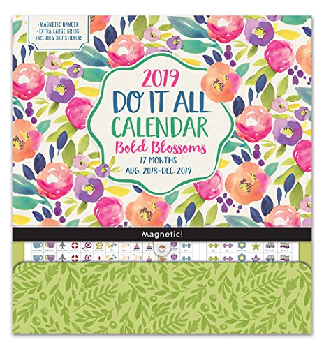 Orange Circle Studio 2019 Do It All Magnetic Wall Calendar, August 2018 - December 2019, Bold Blossoms ()