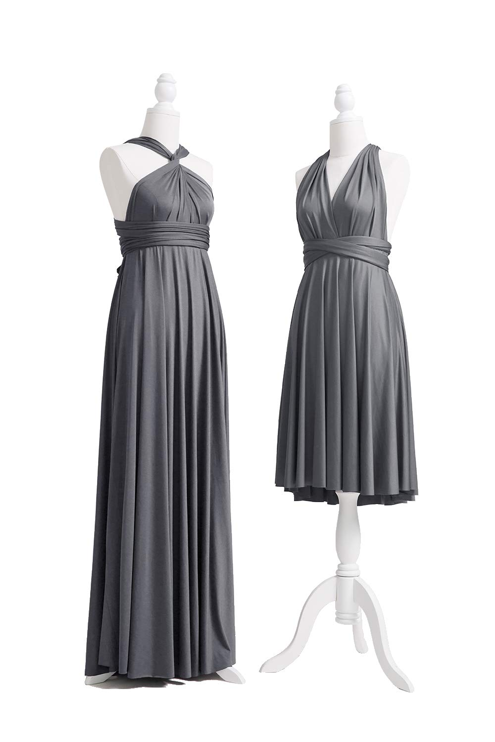 72STYLES Charcoal Grey Infinity Dress with Bandeau, Convertible Dress,  Bridesmaid Dress, Long,Short, Plus Size, Multi-Way Dress, Twist Wrap Dress
