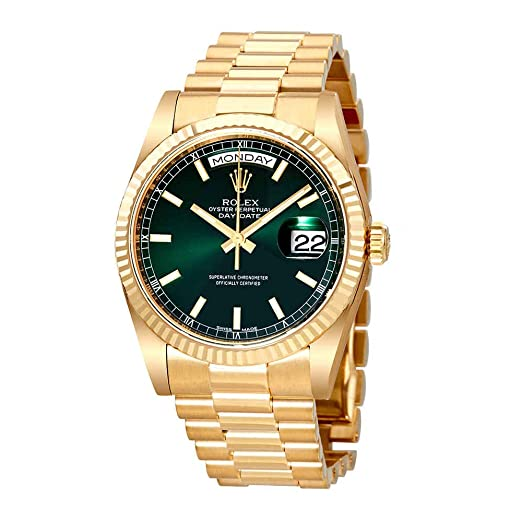 Reloj Rolex Day-Date, esfera de color champagne, oro amarillo de 18 quilates, reloj automático 118238GNSP: Amazon.es: Relojes
