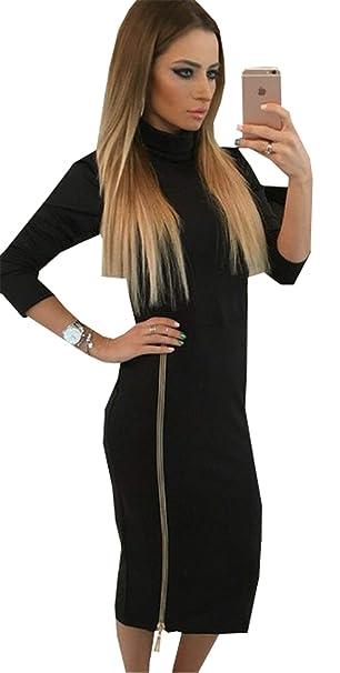 6ae8f777cdce50 Mnory Damen Lange Ärmel Dress T-Shirt Kleid Elegant Pullikleid Turtleneck  Kleid Slim Fit Sexy Maxikleider Young Fashion Schrittrock Schlank Lange  Kleider  ...