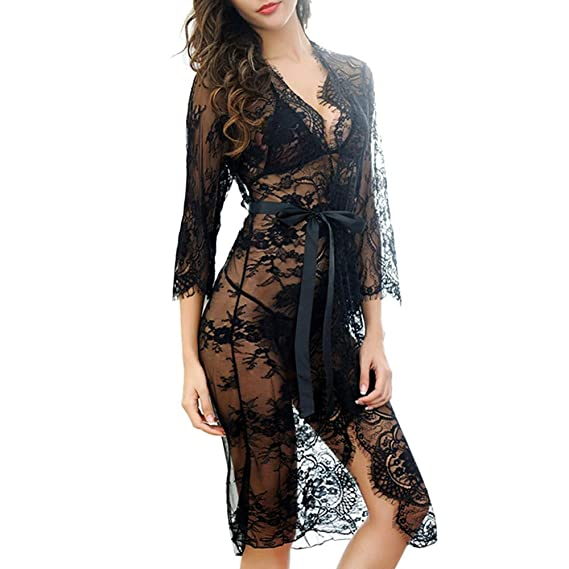 Kimono Batas Mujer Lencería Sexy de Encaje para Mujeres Ropa Interior de Dormir Larga Camisón Vestidos de Dormir Babydoll Lencería Larga Falda Tanga ...