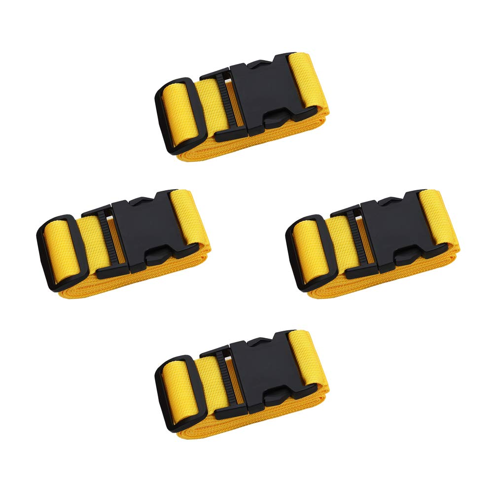 Adjustable Travel Luggage Strap, Nylon Suitcase Belt Luggage Tage Set to Keep Your Luggage Organized and Secure, 43''-78'' Adjustable (4Yellow) by muyan