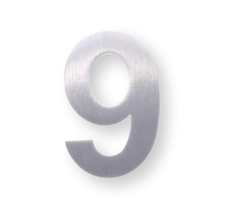 """Individuelle Metall-Zahl """"9"""" aus gebürstetem Edelstahl – Höhe 4cm – Hausnummer, Zimmerbeschriftung, Bürobeschriftung, Türsymbol, Wandbeschilderung – rostfrei und selbstklebend ohne bohren dieHolding"""