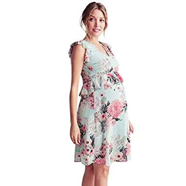 45ce2655422 Womens Mother Floral Ruffle Pregnant Sleeveless Dress Elegant Fitted Maternity  Clothes (Green