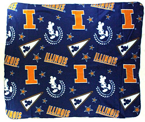 The Northwest Company NCAA Illinois Fighting Illini Mickey Mouse Character Fleece Throw, 50 x 60-inches (Illini Fighting Blanket)