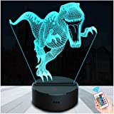 SZLTZK 3D LED T-rex Dinosaur Night Light for Kids 7 Color Changing Touch Switch Remote Control with Battery Compartment USB Cable Dimmable Nursery Lamp Home Decor Birthday Present for Kid Boy Girl