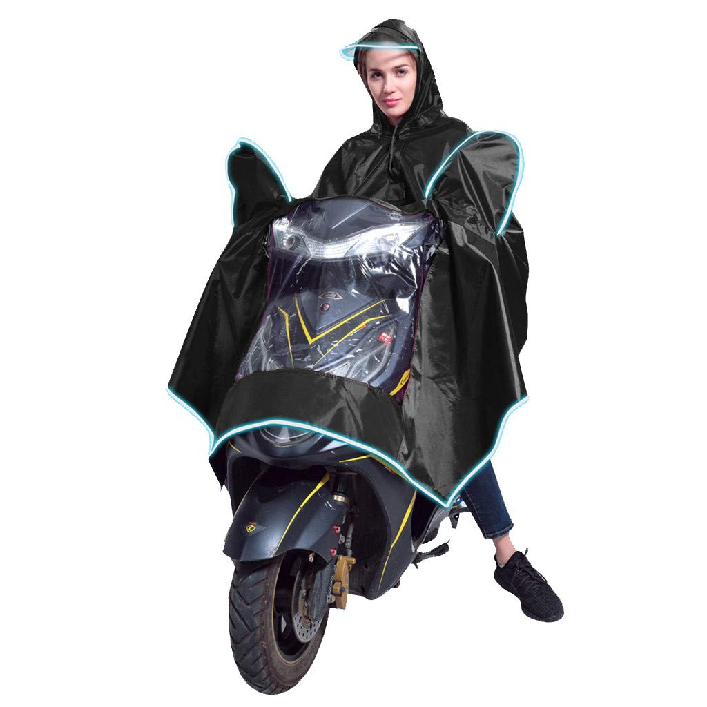 Fine Men Women Raincoat,Extra Large Rain Poncho Oxford Cape Garment Jacket Anti-rain Big Thick Breathable with Raincoat Mirror Waterproof for Motorcycle Scooter Cycling Bike Riding (Black) by Fine
