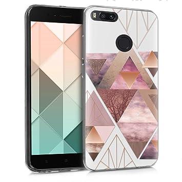 kwmobile Funda compatible con Xiaomi Mi 5X / Mi A1 - Carcasa de TPU y diseño de triángulos en rosa claro / oro rosa / blanco