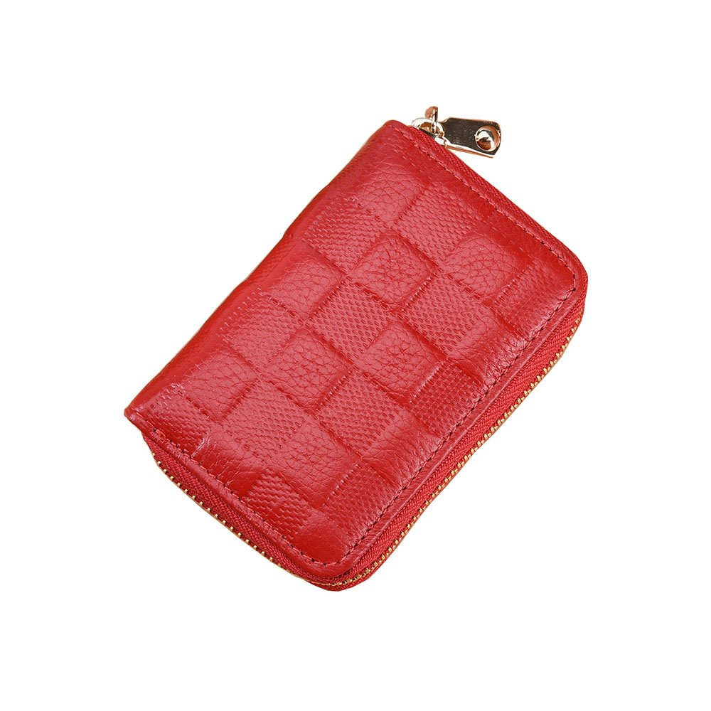 LXJ® STORE Women men RFID Blocking Credit Card Holder Cards Case Wallet Leather Multi Card Protector Safe Small Purse for Travel Work Shopping (special red) LXJ2018XKB001