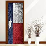 PhilipHOME 3D Door Wallpaper Creative Door Stickers Bedroom Doors Renovation Waterproof Door Stickers Arts Decals Wall Stickers Decor(Texas State Flag painted on luxury crocodile texture)