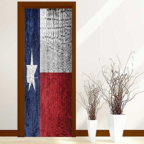 PhilipHOME 3D Door Wallpaper Creative Door Stickers Bedroom Doors Renovation Waterproof Door Stickers Arts Decals Wall Stickers Decor(Texas State Flag painted on luxury crocodile texture) by PhilipHOME (Image #8)
