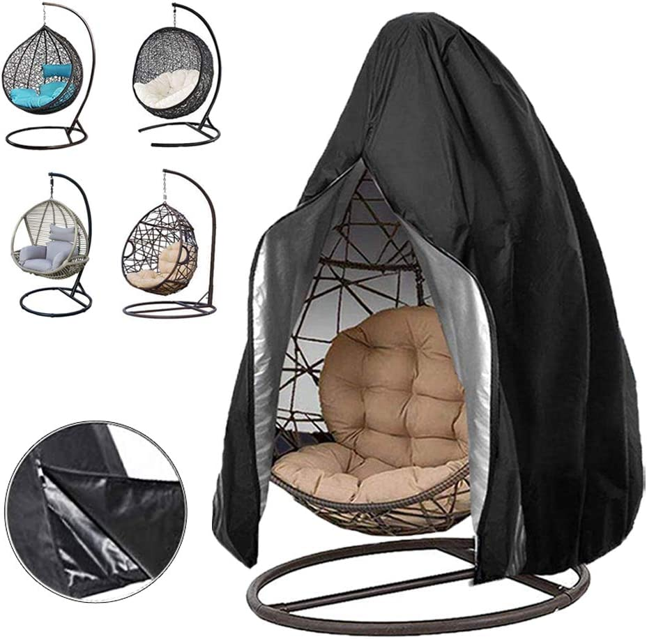 """Oslimea Patio Hanging Egg Chair Cover, Durable Lightweight Waterproof Egg Swing Chair Cover with Zipper Fits Most Outdoor Single Swing Egg Chair Dust Protector (75"""" x 45"""", Black)"""