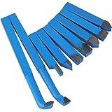 BQLZR - Juego de 9 cortadoras para torno de metal, aleación de carburo, 10x 10mm, con punta, azul, BQLZRN20217