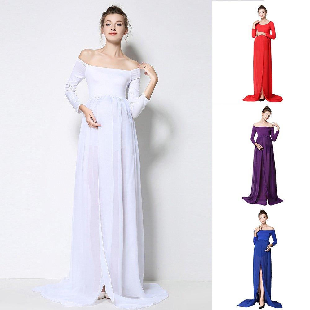 Maternidad Photoshoot vestido, manga larga falda que llegue (XL), Morado, X-Large: Amazon.es: Hogar