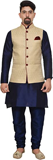 Mag Men's silk Kurta Churidhar With Waistcoat Men's Kurta Sets at amazon