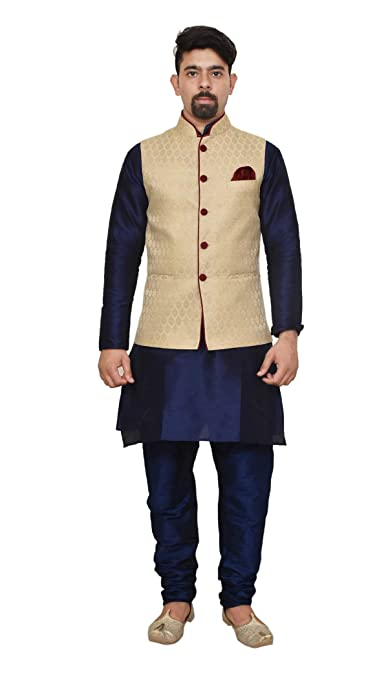 Mag Men's silk Kurta Churidhar With Waistcoat Men's Nehru Jackets & Vests at amazon