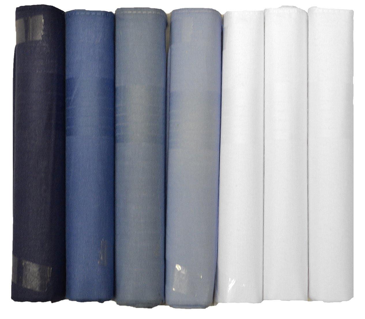 7 Pack Uomo's Fazzoletti Tinti Blu Con Bordo In Raso, Cotone 100% In & Scatola Regalo