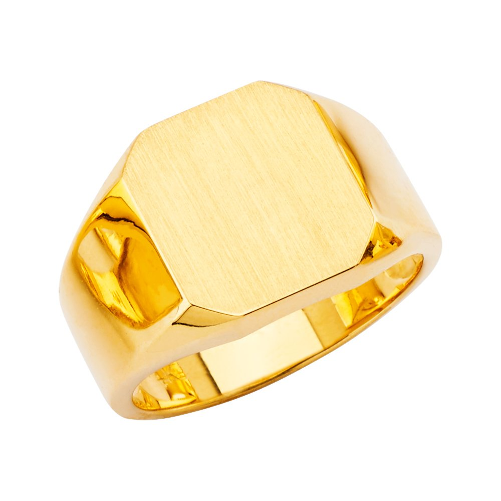 Ioka -14K Solid Yellow Gold Simple Square Plain Men's Signet Ring - size 8