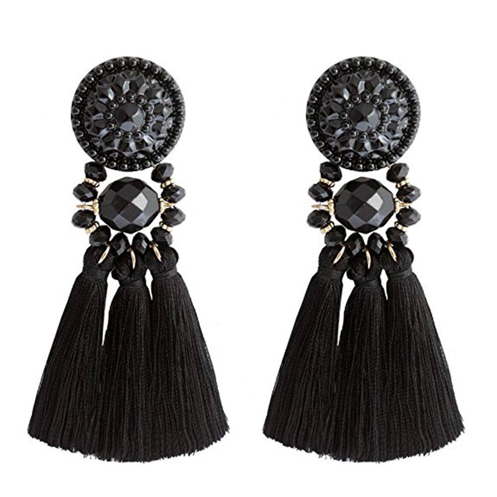 Statement Thread Tassel Earrings Enjoit Chandelier Drop Dangle with Cassandra Button Stud for Women(Black)