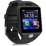 Jiazy Bluetooth Smart Watch con ranura para tarjeta SIM / Hacer llamadas telefónicas / Soporte de notificación de mensajes / Sleep Monitor Compatible para Android Sumsung HUAWEI (QR no son compatibles con IOS) Negro