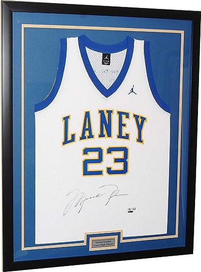 Michael Jordan Custom Framed LANEY BUCS HIGH SCHOOL Jersey Signed ...