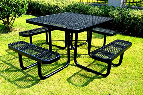 46″ Steel Square Picnic Table, Surface Mount, Black