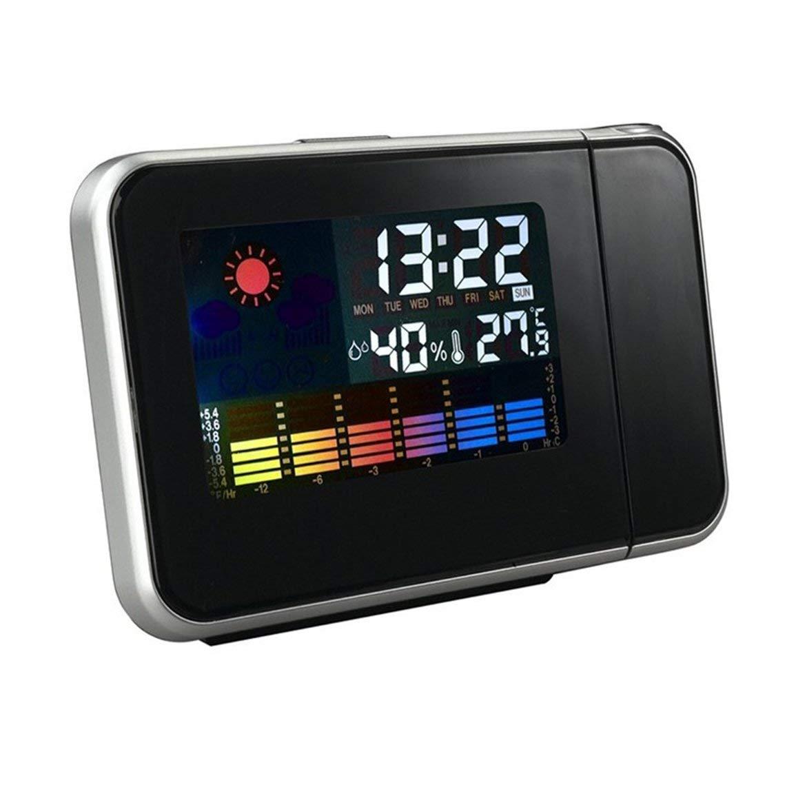 Garciayia Proiettore Portatile Digital Weather LCD Snooze Sveglia Display a Colori con retroilluminazione a LED Temperatura Tester di umidit/à Colore: Nero