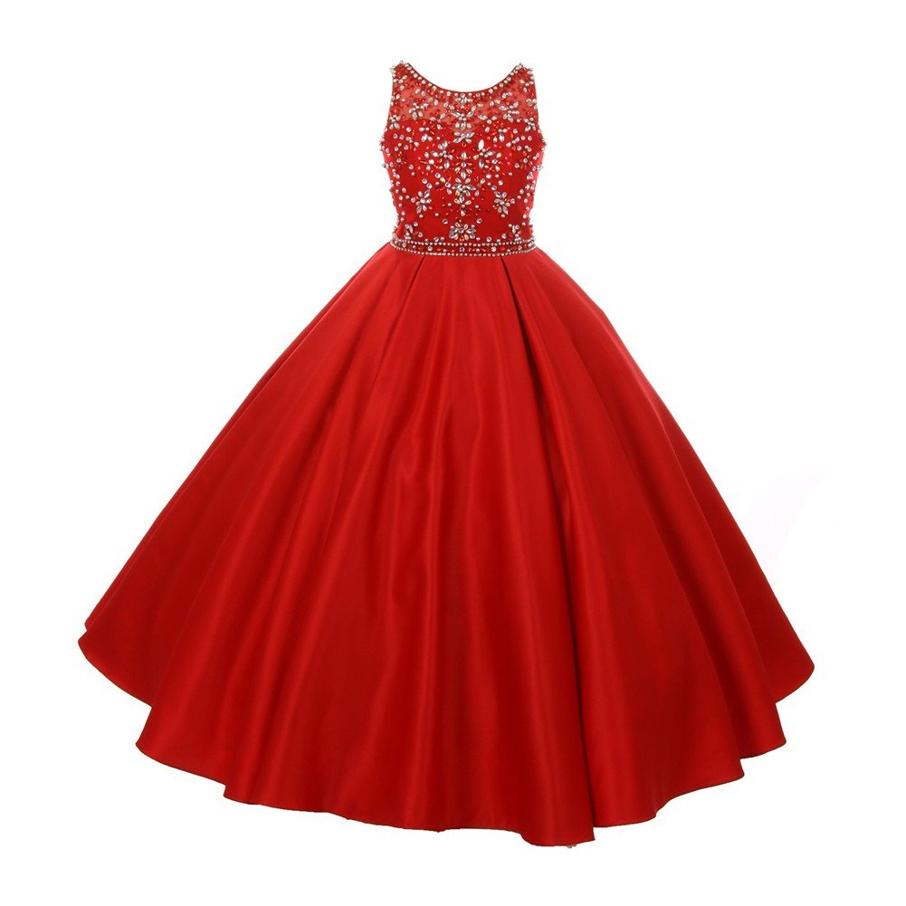 77a042a19c Amazon.com  Cinderella Couture Big Girls Red Tonal Silver Beaded Satin  Tulle Junior Bridesmaid Dress 8-16  Clothing