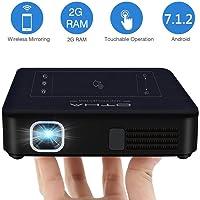 OTHA Mini Proiettore Portatile 200ANSI Lumens, Videoproiettore Android 7.1 e 2GB RAM Proiettori DLP Home Cinema, Supporto 1080P 4K Video, H.265 e Ingresso HDMI