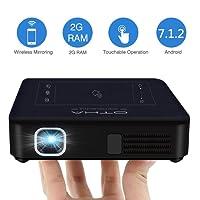 OTHA Vidéoprojecteur Wifi, Mini Projecteur Portable Android 7.1 & RAM de 2Go, Vidéoprojecteur LED DLP de Cinéma Maison 4K Lecture, 200 Lumens ANSI, Supporte le codec H.265 et dispose d'une Entrées HDMI