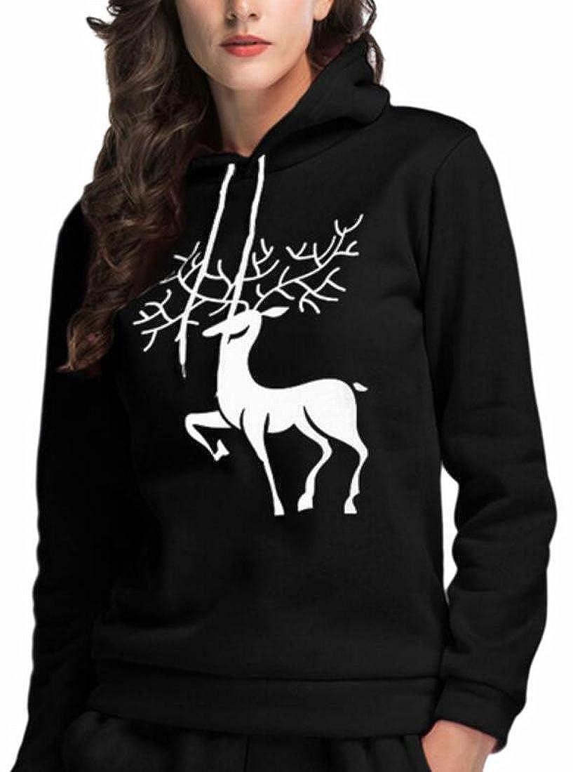 shinianlaile Womens Christmas Deer Printed Long Sleeve Slim Hooded Sweatshirt