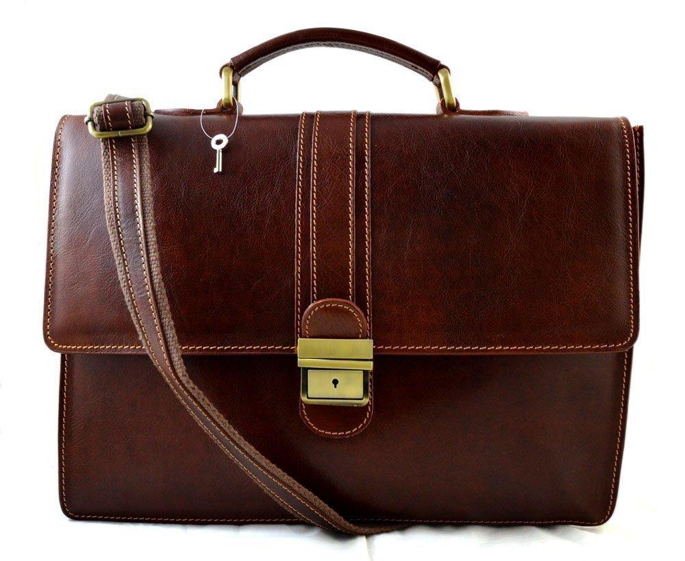 Leather briefcase mens ladies office handbag shoulderbag messenger business bag satchel brown made in Italy genuine leather