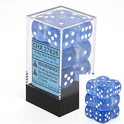Chessex Dice d6 Sets: Borealis Sky Blue with White - 16mm Six Sided Die (12) Block of Dice: Toys & Games [5Bkhe1003663]