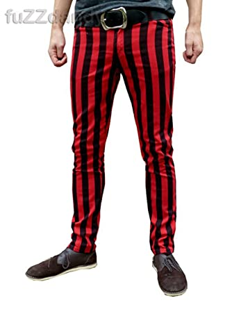 Mens Striped Drainpipe Skinny Mod Pants Vintage Red Black At Amazon