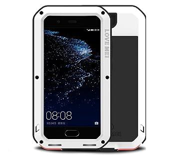 LOVE MEI Huawei P10 Plus Funda, Metal Aluminio Cover Extreme Alta Resistencia Protector Shockproof Military Heavy Duty Carcasa con Cristal de Gorila ...