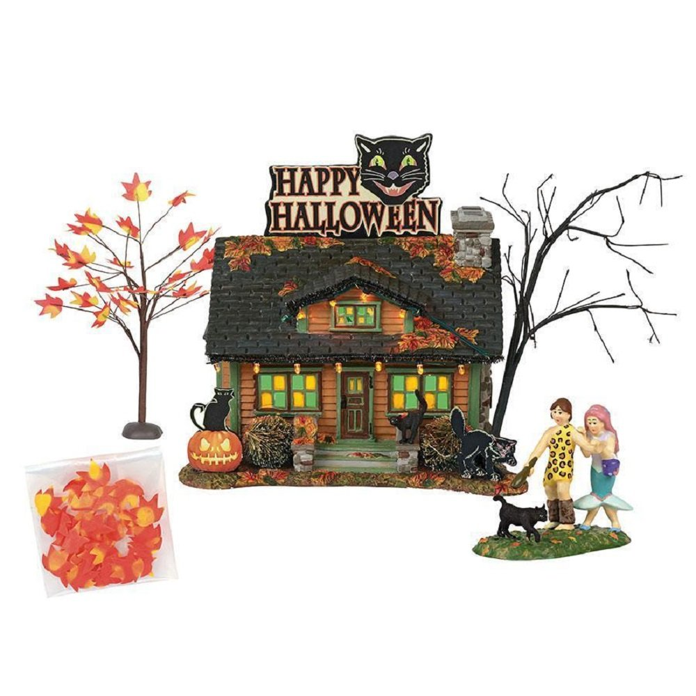 Department56 Snow Village Halloween The Black Cat Flat Lit Building and Accessories, 6'', Multicolor by Department56