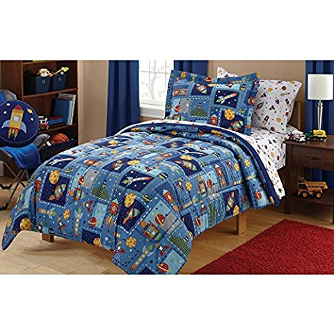 5 Piece Kids Spaceships Comforter Twin Set, Outer Space Themed Bedding, Colorful Rocket Ships Flying Around Planets, Adorable Childrens Space (Rocket Twin Bedding)