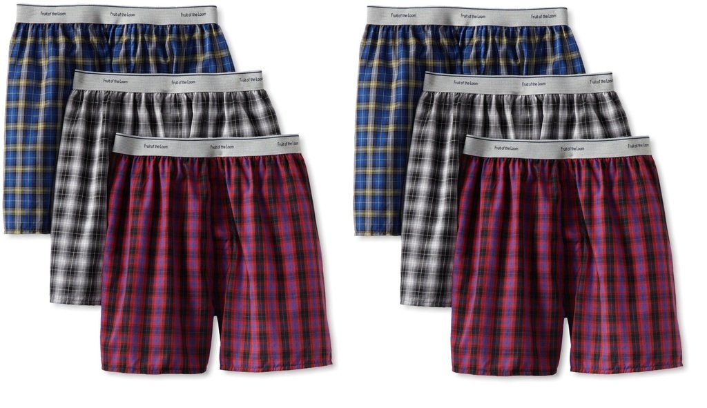 Fruit of the Loom 6Pack Boys Exposed-Waistband Boxers Boxer Shorts Underwear XL