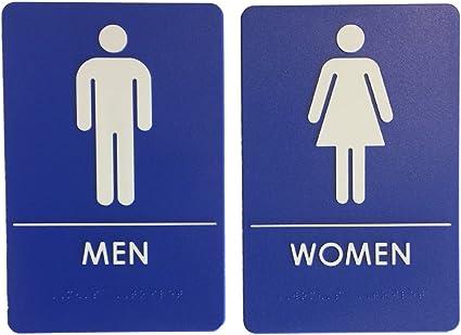 Amazon.com: Hombres/Mujeres Restroom Sign azul/blanco – Ada ...