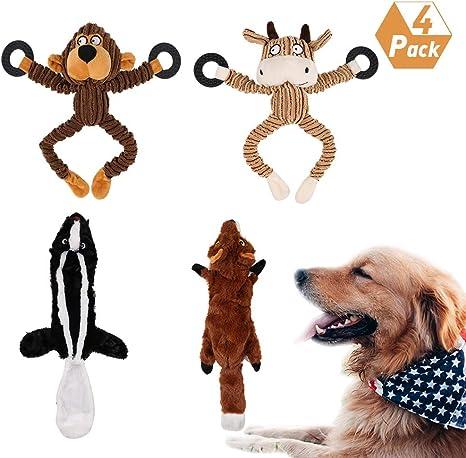 Yorgewd - Juego de 4 juguetes para masticar para perros, sin relleno, duraderos, sin relleno, para perros pequeños y medianos: Amazon.es: Productos para mascotas