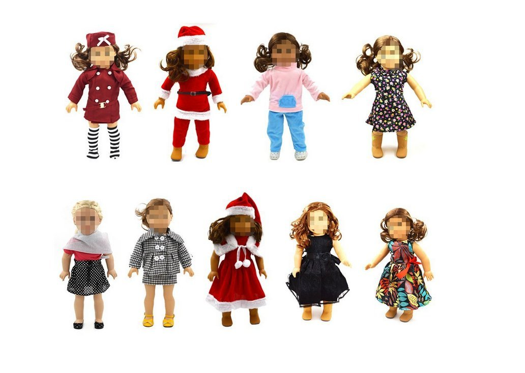 Nalmatoionme 18 Inch Dolls Christmas Santa Claus Clothes Set (Red)
