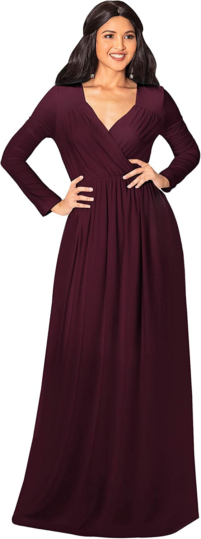 KOH KOH Womens Long Sleeve Empire Cocktail Elegant Evening Versatile Maxi Dress