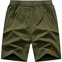 BASUDAM Men's Workout Running Shorts Quick Dry Lightweight Gym Athletic Shorts Zipper Pockets
