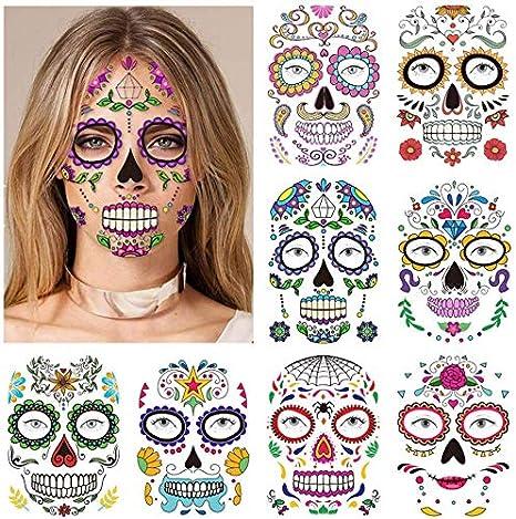 Tatouages pour le visage pour Halloween Autocollants pour le visage 8 autocollants de cr/âne de sucre de tatouages de kits jour du maquillage mort Tatouage temporaire du visage