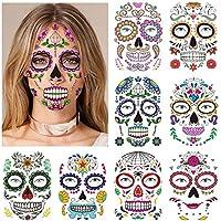 Halloween Tatouages Temporaires pour visage (8 Feuilles), Konsait Crâne mort Floral Squelette Noir Tatouages éphémères Pour homme femme adulte Enfants Halloween Déguisement Costume Maquillage
