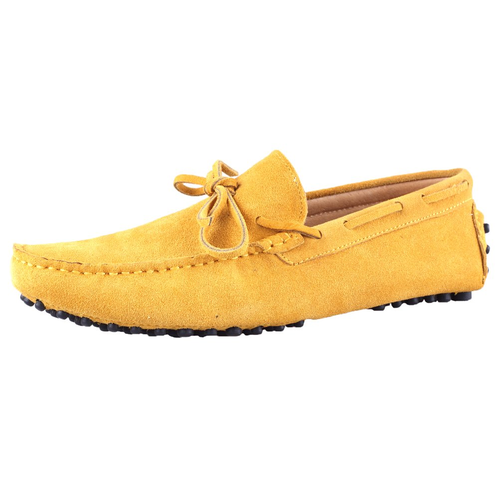Santimon Men's Suede Leather Driving Walking Moccasins Loafer Lace Shoes Light Yellow 8.5 D(M) US