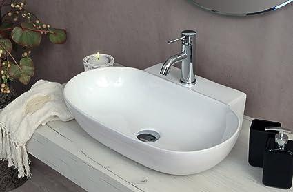 Lavabo d appoggio misure ceramica bianca predisposizione per